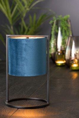 Light en Living Light & Living Tafellamp 'Santos' 35cm hoog, Mat Zwart, kleur Petrol