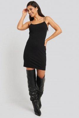 NA-KD Party NA-KD Party Assymetric Spaghetti Strap Dress - Black