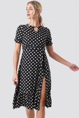 Trendyol Trendyol Yol Polka Dot Midi Dress - Black