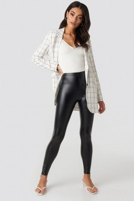 NA-KD NA-KD Shiny High Waist Leggings - Black