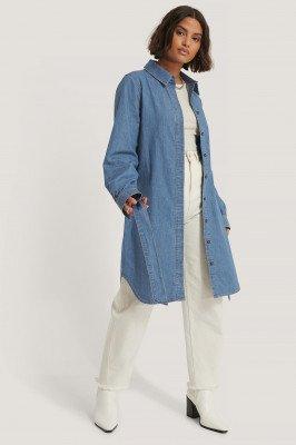 NA-KD Reborn Organisch Jeans Shirtjurk Met Riem - Blue