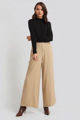 NA-KD Flowy Wide Leg Pants - Beige