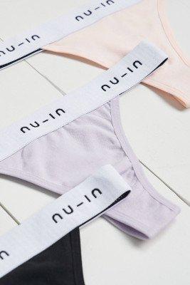 nu-in 3 Pack Branded Seamless Thong