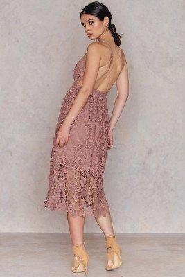 NA-KD Boho NA-KD Boho Crochet Strap Back Dress - Pink