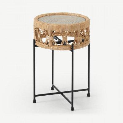 MADE.COM Moreno bijzettafel, riet en glas