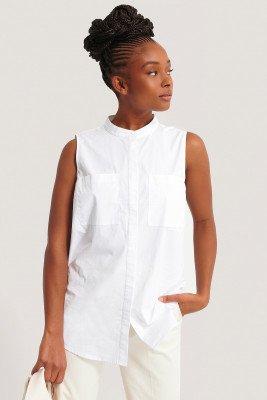 NA-KD Classic NA-KD Classic Mouwloos Shirt Met Zakken - White