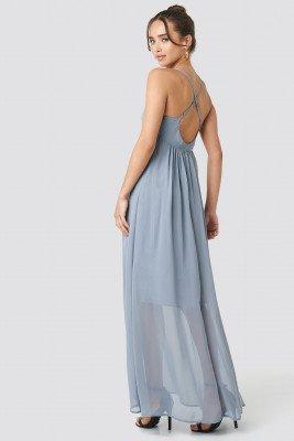 NA-KD Party NA-KD Party V-Neck Cross Back Maxi Dress - Blue