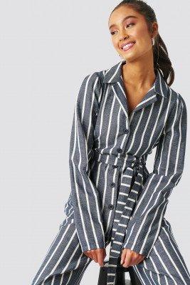 Trendyol Trendyol Striped Binding Detailed Blazer - Blue