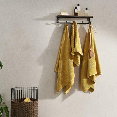 MADE.COM Alto set van 4 handdoeken, okergeel