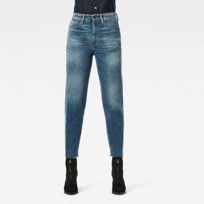 G-Star RAW Janeh Ultra High Mom Raw Edge Ankle Jeans - Midden blauw - Dames