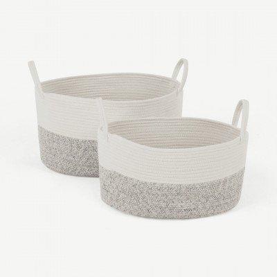 MADE.COM Toro grote set van 2 manden met handvatten, grijs