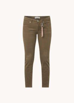 Marc O'Polo Marc O'Polo Mavas low waist skinny fit broek met fluweel look van biologisch katoen