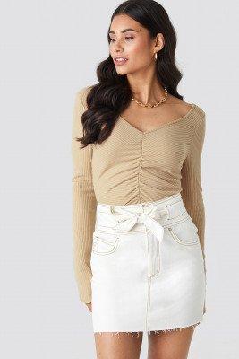 NA-KD NA-KD Belted Contrast Stitch Denim Mini Skirt - White
