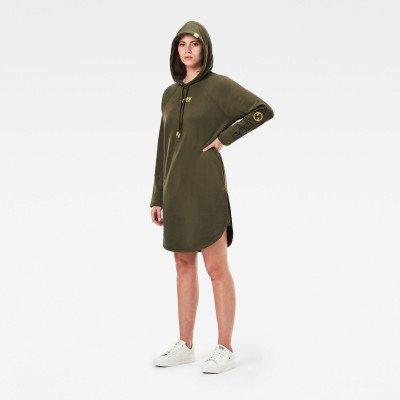 G-Star RAW Sleeve Print Sweat Hoodie Jurk - Groen - Dames