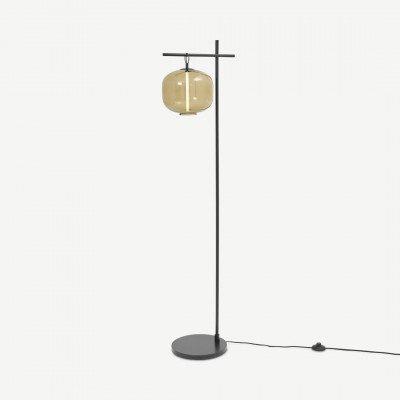 MADE.COM Olney staande lamp, champagne glas en matzwart metaal