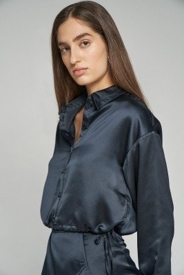 nu-in 100% Recycled Side Draw String Cropped Satin Shirt