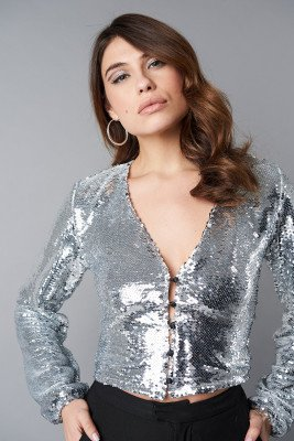 NA-KD Party NA-KD Party V-Neck Sequins Balloon Sleeve Top - Silver