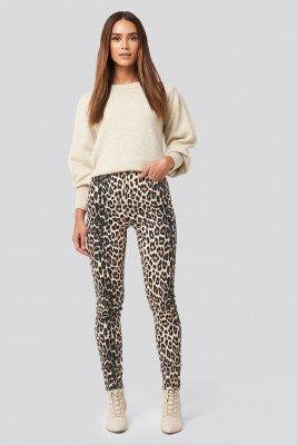 NA-KD NA-KD Animal Printed High Waist Jeans - Beige,Multicolor