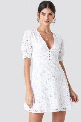 NA-KD Boho NA-KD Boho Cotton Anglaise Mini Dress - White
