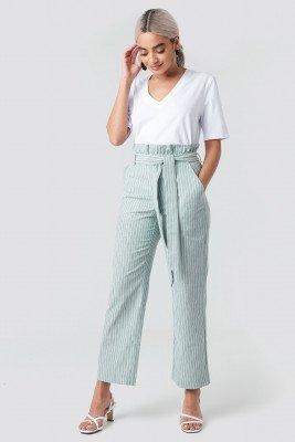 NA-KD NA-KD Paper Waist Striped Trousers - Green