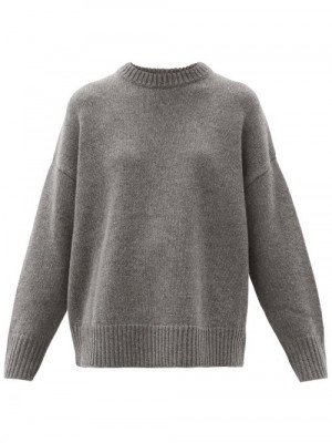 Matchesfashion Co - Oversized Round-neck Wool-blend Sweater - Womens - Grey