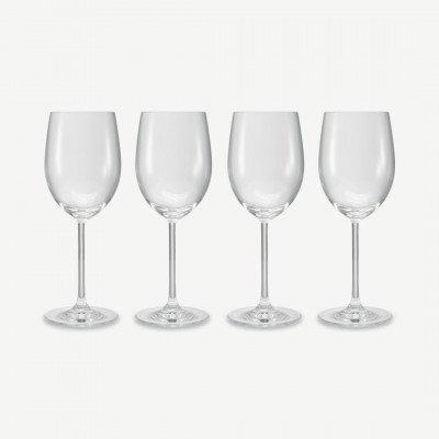 MADE.COM NUDE Glassware set van 4 veelzijdige wittewijnglazen, transparant