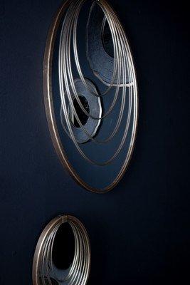 Firawonen.nl PTMD Rheda Gold metalen hangende spiegel cirkels ovaal