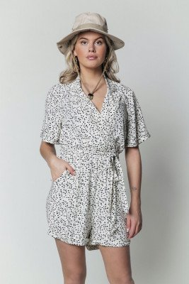 Colourful Rebel Kessy Dots Collar Playsuit   Beige