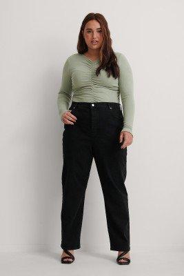 NA-KD NA-KD Organisch Rechte Jeans Met Hoge Taille - Black