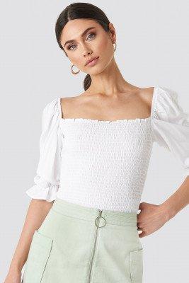 NA-KD Boho Puff Sleeves Shirring Top - White