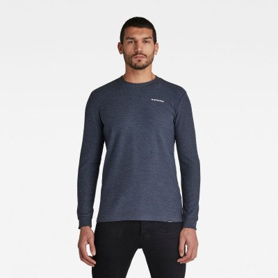 G-Star RAW Textured Stitch Tweater - Midden blauw - Heren