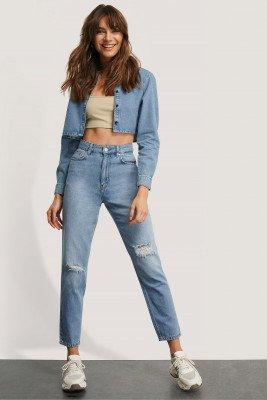 Monica Geuze x NA-KD Monica Geuze x NA-KD Versleten Jeans - Blue