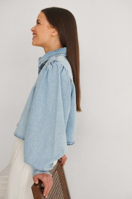 NA-KD NA-KD Gemaakt Uit Denim Shirt Met Pofmouwen - Blue