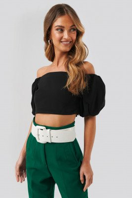NA-KD Party Puff Sleeve Off Shoulder Top - Black