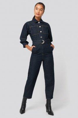 NA-KD Trend NA-KD Trend Puff Sleeve Jumpsuit - Blue