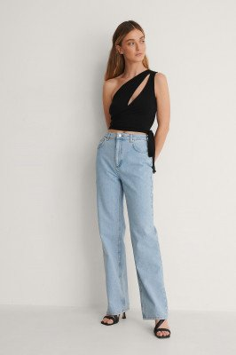 Curated Styles Curated Styles Rechte Jeans In Lichte Wassing - Blue