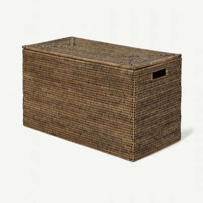 MADE.COM Hadid handgeweven koffer, 35 x 60 x 30 cm, honing rotan