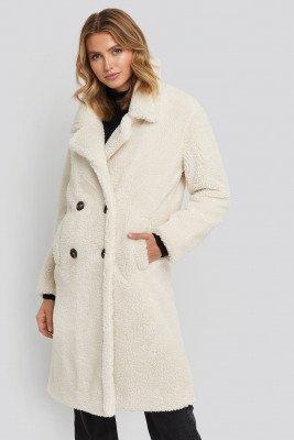 NA-KD NA-KD Long Teddy Coat - White