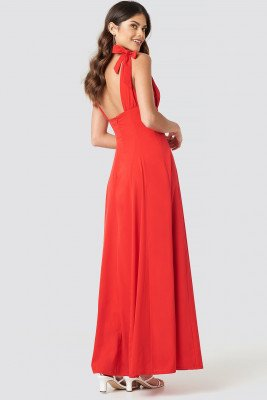 NA-KD Party NA-KD Party Tie Detail Open Back Maxi Dress - Red