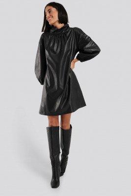 NA-KD NA-KD Faux Leather Full Volume Mini Dress - Black
