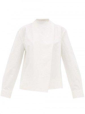 Matchesfashion Bottega Veneta - Tie-neck Linen Blouse - Womens - White
