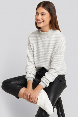 NA-KD Striped Balloon Sleeve Knitted Sweater - Grey
