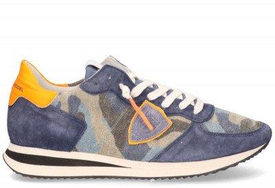 Philippe Model Philippe Model Tropez X Camouflage Neon Blauw/Oranje Herensneakers