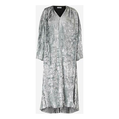 Balenciaga Pleated Lurex Velvet Dress