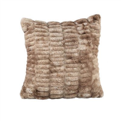Firawonen.nl PTMD Softy Brown artificial fur ribbed cushion square