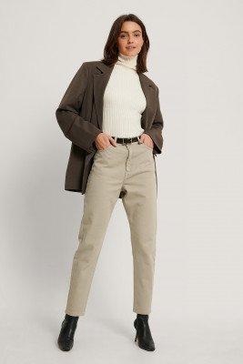 Dr Denim Dr Denim Mom Jeans Met Superhoge Taille - Beige