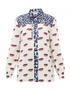 Matchesfashion Prada - Hearts And Lip-print Silk Blouse - Womens - Blue White