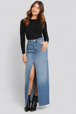 NA-KD NA-KD Front Split Maxi Denim Skirt - Blue