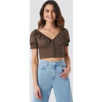 NA-KD Boho Cropped Fitted Button Top - Brown