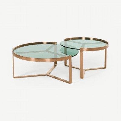 MADE.COM Aula salontafelset, koper en groen glas